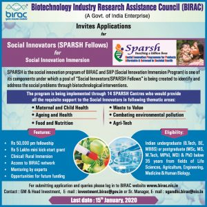 Sparch Fellowship Program by BIRAC